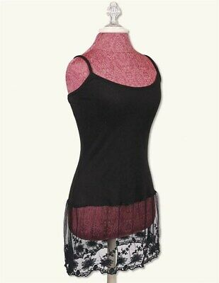 Victorian Trading Co Black Lace Shirt Extender Tank Top S/M