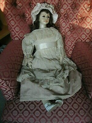 """Large 28"""" Poured Wax Doll by Artist Gillie Charlson circa 1982 with soft body"""