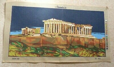 """Vintage Tapestry Canvas  21.123 by Gobelin - Unworked """"Parthenon"""""""