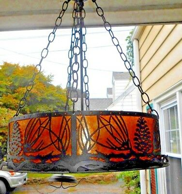 Arts And Crafts Chandelier Mica Steel Forest Scene Pine Cone Drum Hanging