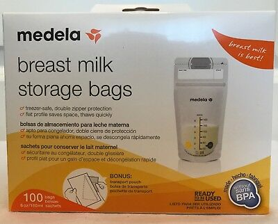 Medela Breast Milk Storage Bags 6 oz 100 ct - Includes Bonus Transport Pouch