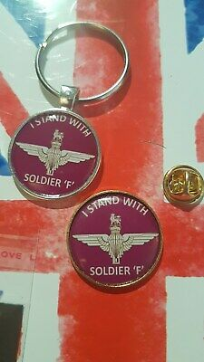 I Stand with Soldier F ! PARAS  Airborne PARATROOPER  PIN BADGE & METAL KEYRING
