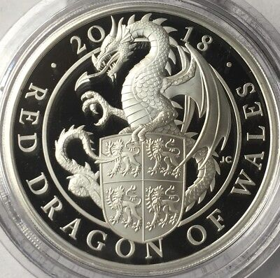 2018 GB Proof 1 oz Silver Queen's Beast Red Dragon of Wales Royal Mint