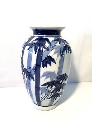 Vintage Asian Blue White Porcelain Chinoiserie Moriage Bamboo Leaves Trees Vase
