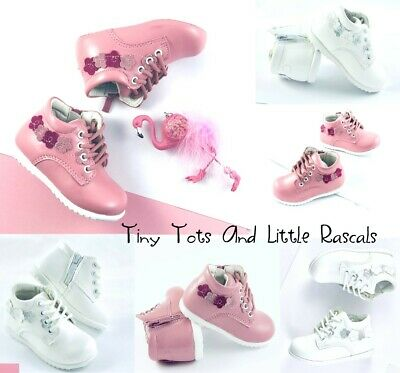 Girls Spring Autumn Hi Top Zip First Shoes Occasion Leather Insole Size UK 3-7