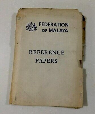 Extremely Rare Vintage 1960s Federation Of Malaya Reference Papers Book 1-25