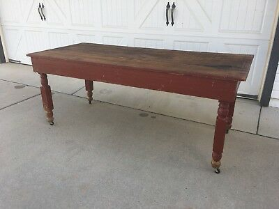 Aafa Early Antique Folk Art Wood Harvest Fall Farm Table Original Red Paint