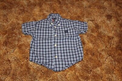 Toddler Boy 18 month Chaps Short Sleeve Button Up Dress Shirt Navy White
