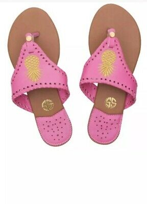 be345c6e6e16 Simply Southern Sandals Flip Flops Thong Pink Gold Pineapple Size 8 NWT NEW