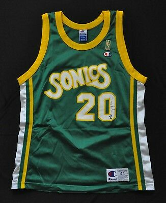new product cc189 b0922 GARY PAYTON SEATTLE Supersonics Jersey 50Th Gold Nba Logo Green 44 Large  Rare