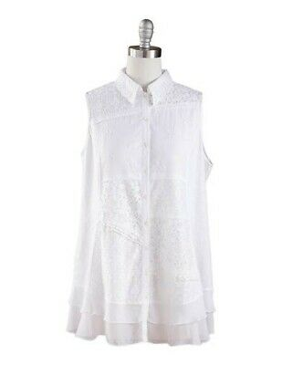 Victorian Trading Co April Cornell White Sleeveless Patchwork Lace Tunic XL