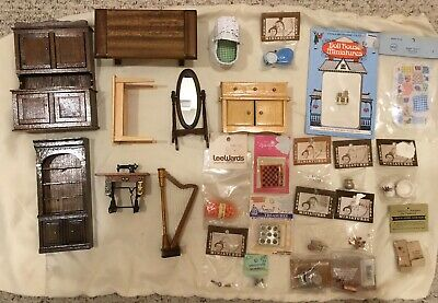 Dollhouse Furniture And Accessories Lot Vintage