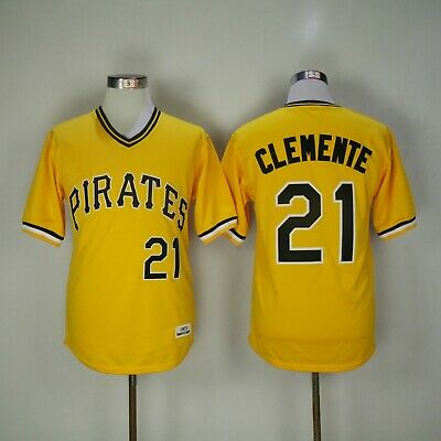 super popular a3750 7d437 PITTSBURGH PIRATES YELLOW #21 ROBERTO CLEMENTE 2patch SEWN ...