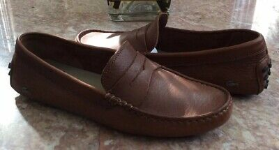 40a2191a4a8 Lacoste Paris Men s Brown Leather Nubuck Driver Moccasin Loafers Size 8.5  EUC!