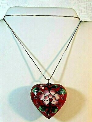 """Vintage Sterling Silver """"925"""" Cloissone Puffed Heart Floral Pendant Necklace"""