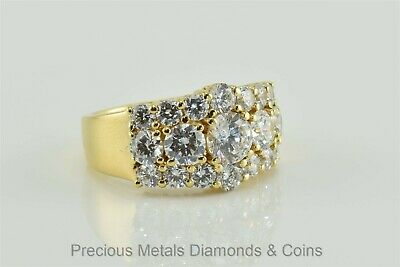 Gold over Sterling Silver Cubic Zirconia Cluster Band Statement Ring Sz: 8