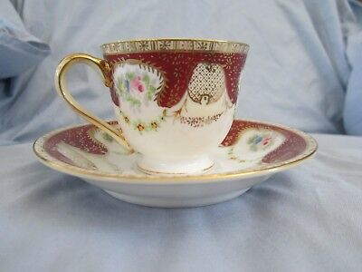 Beautiful Handpainted Gold China Teacup & Saucer Set - Made in Occupied Japan