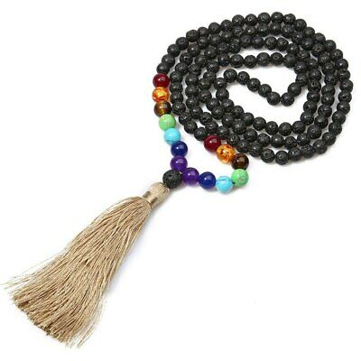 Long Necklaces 7 Chakra Natural Black Lava Stone Tassel Statement Aromatherapy
