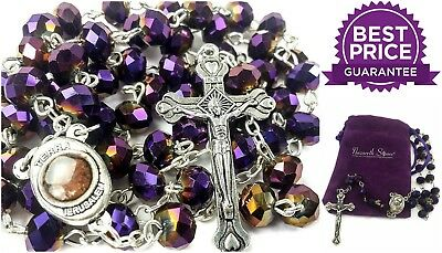 Catholic Necklace Holy Soil Crucifix Cross Jerusalem Deep Purple Beads Rosary