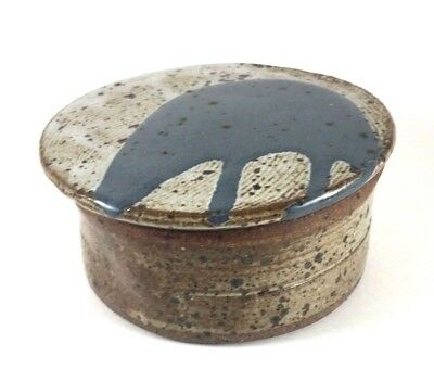 Ruth Perdew Colorado STONEWARE LIDDED DISH Brown wBold Blue Drip Indentd Pottery