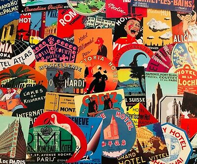 Vintage Travel Stickers Hotels, European, China, Exotic Old Scrapbook Sticker