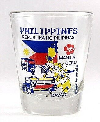 Philippines Landmarks And Icons Collage Shot Glass Shotglass