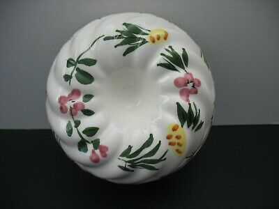 Vintage Ceramic Jello Mold Kitchen Wall Hanger HP Floral Pottery 5.25''