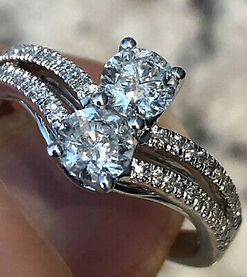 $2949 Jared 14k White Gold Ever Us 1+ CT Diamond Ring Band (2) 3/8 Solitaires