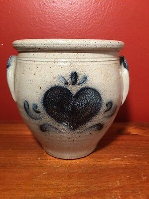 "Vintage 1988 Rockdale Union Stoneware Salt Glazed Pottery ""Heart""  Crock, USA"