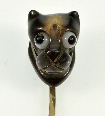 Antique Victorian 14K Dog Head Stick Pin, Carved Horn, Bulls Eye Agate Eyes
