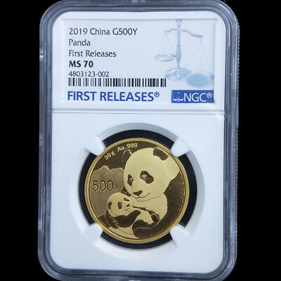 2019 China panda first releases 30g gold coin G500Y NGC MS70