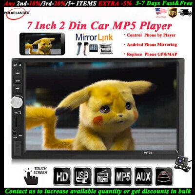 """7""""2 Din Touch Screen Car Radio+Camera FM Bluetooth MP5 Player Stereo Mirror Link"""