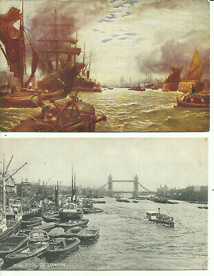 "Two Postcards - ""The Pool of London"", London - One Real Photo, One Art - 1900's"