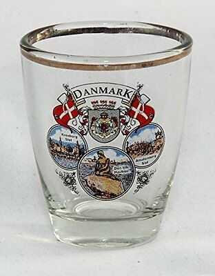 Denmark Flag Coat Of Arms And Landmarks Shot Glass Shotglass