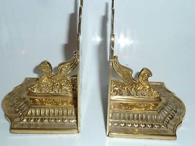 Vintage A Pair Solid Brass Book Ends Bookend Holder Ornate India Collectible