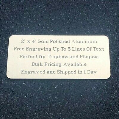 """Custom Engraved Plate 2""""x4"""" Name Plate Plaque Award Art Label Tag Gift Trophy"""