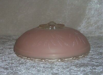 Antique 3 Chain Ceiling Light Shade Frosted Pink Clear Glass Leaves Art Deco