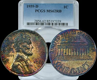 1959-D Lincoln Memorial Cent PCGS MS62 RB Yellow/Purple Toned Color Penny