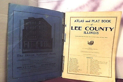 "Illinois Lee County ATLAS&Plat Map 16""x12"" Soft Cover Book Dixon Illinois 1915"