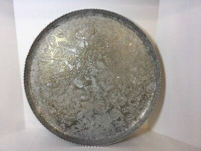 "Federal Silver Co,11""Round Aluminum Serving Tray/Platter Vintage Floral Etching"
