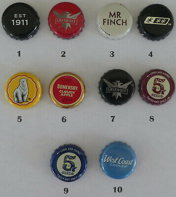10 Cider & Mixed Drink Crown Seal Bottle Caps made or sold in Australia (Lot 2)
