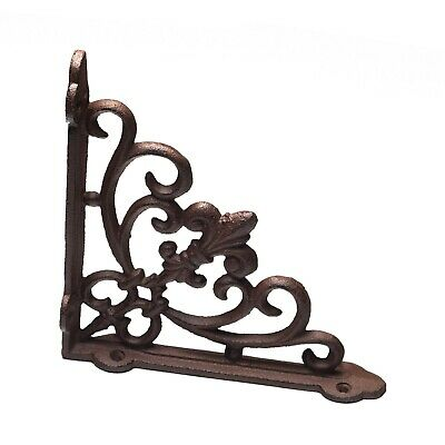 Ornate Cast Iron Fleur de lis Antique style Brown/Black shelf  Bracket.