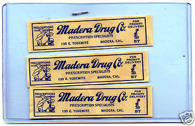 3 Vintage PHARMACY Madera DRUG Co California PRESCRIPTION LABELS