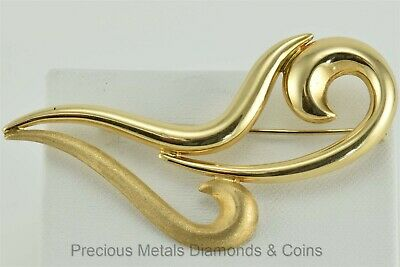 Antique 14k Yellow Gold Polished & Satin Swirled Lily Brooch Pin 7g Italy