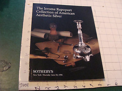 Sotheby's Catalog: JEROME RAPOPORT coll. of AMERICAN AESTETIC SILVER 6-20-96