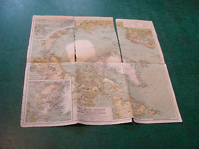 """Original NATIONAL GEOGRAPHIC MAP: 1925 THE ARTIC REGIONS 19 x 20"""" torn on folds"""