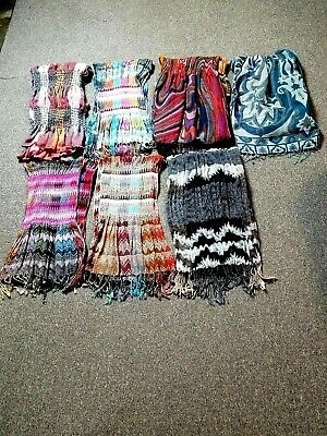 Lot Of 7 Women's Assorted Colors Printed Long Scarves One Size Unbranded