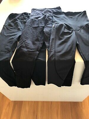 3 X Black Maternity Pants Or Tights CadenShae, Cotton On & Motherhood Size 10