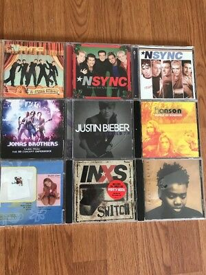 NSYNC Justin Bieber Jonas Brothers Britney Spears INXS Hansen MUSIC Lot / 9 Cd's