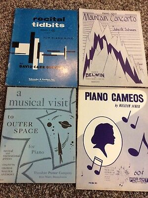 Piano Recital / Solo Music Books Lot Of (4) 32 Solos Schaum Scher Anthony Glover